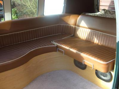 Custom seat made for a split screen camper