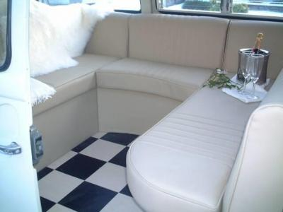 Radius seating made for an early bay wedding bus